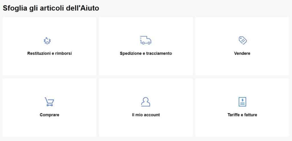 servizio clienti ebay