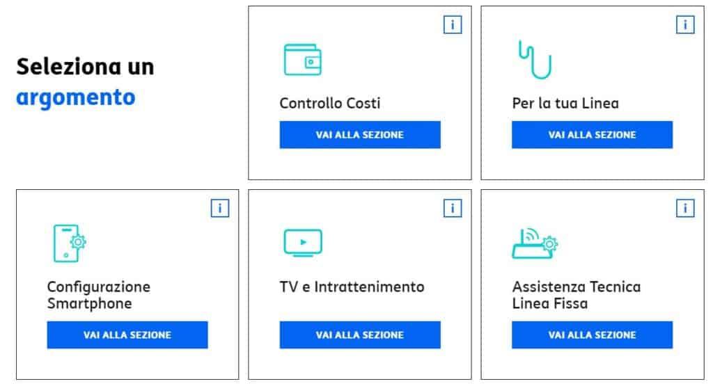 screenshot servizio clienti tim