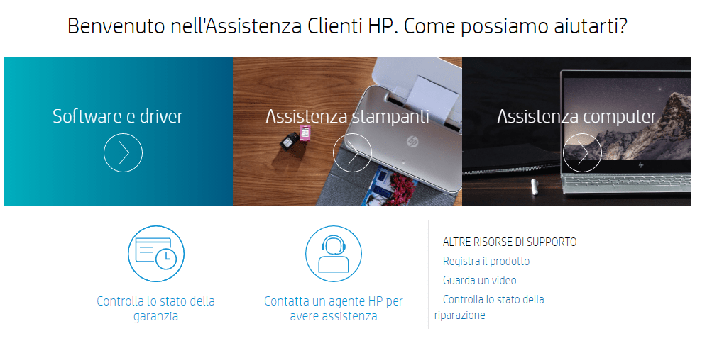 servizio clienti hp supporto