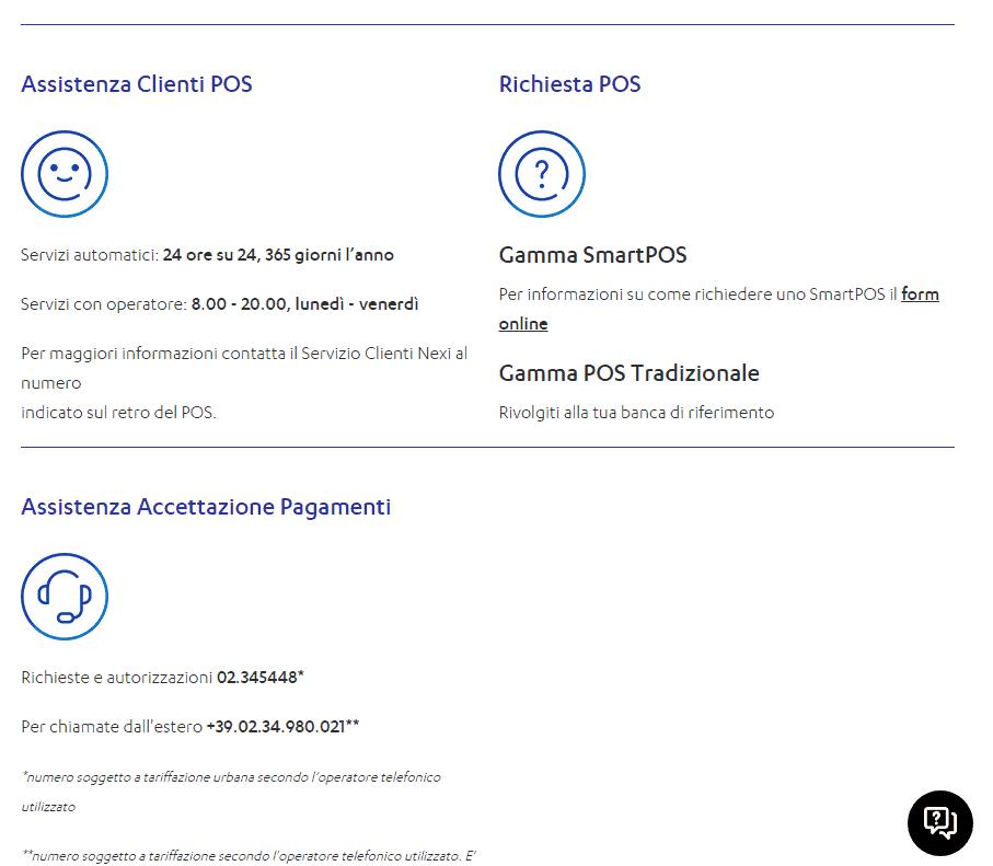 screen nexi business bottom servizio clienti
