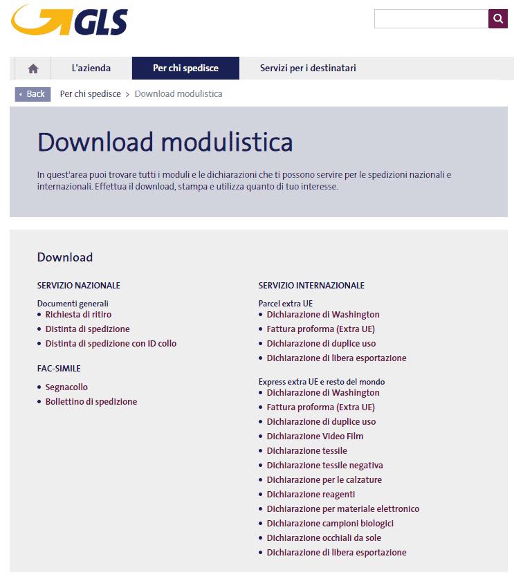 gls download modulistica servizio clienti