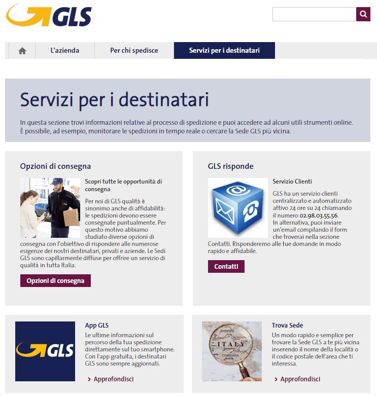 gls servizi per i destinatari servizio clienti