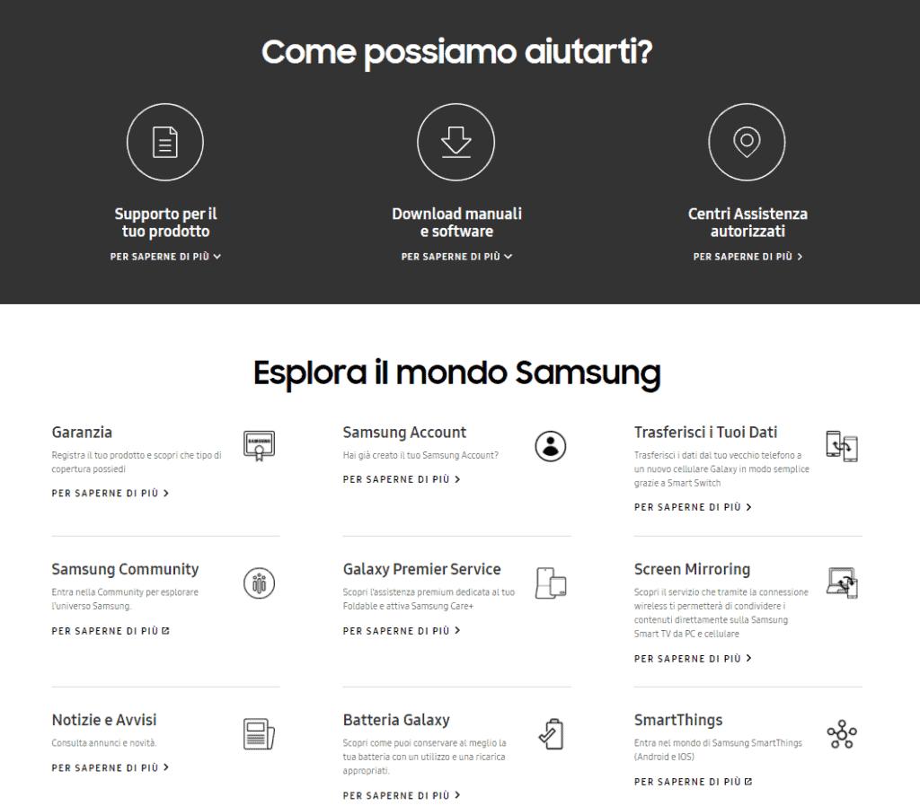 esplora il mondo samsung assistenza clienti