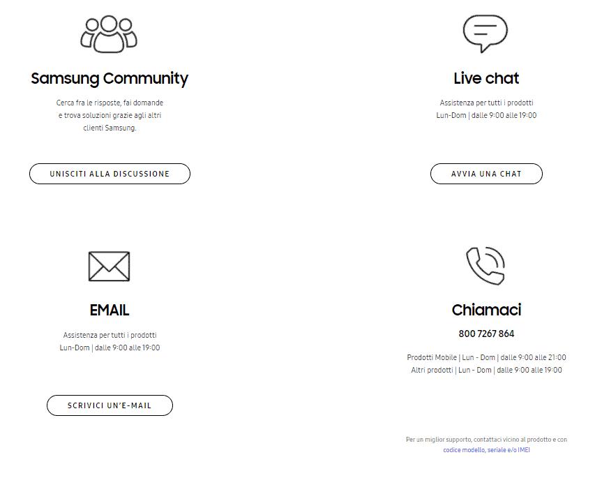 contattaci samsung servizio clienti