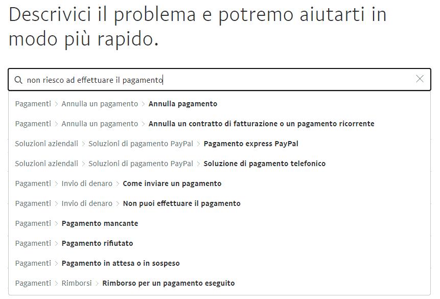 paypal assistenza descrivi il problema servizio clienti