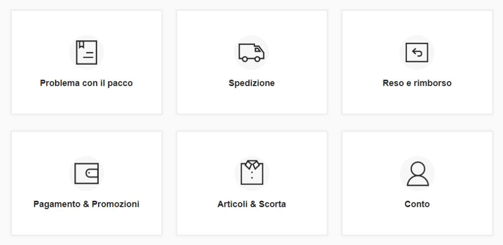 Servizio clienti Shine categorie