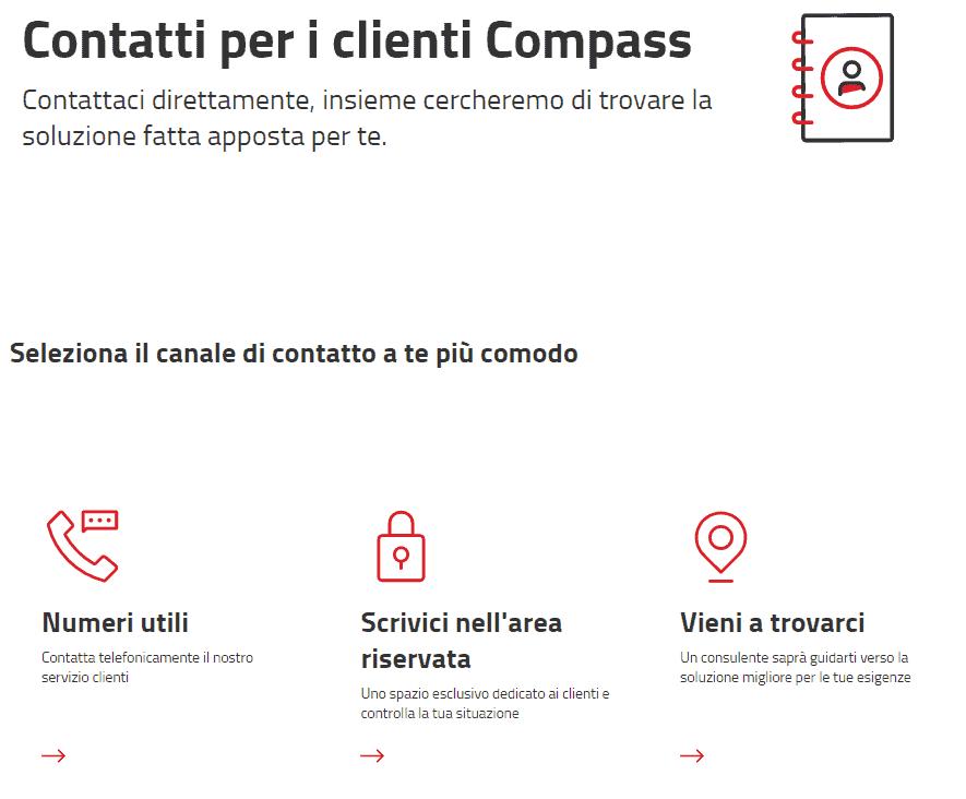 menu servizio assistenza clienti compass
